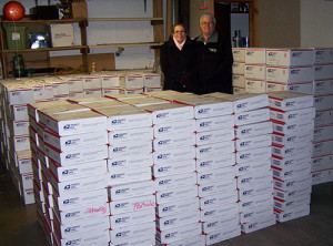 The founders of Operations with love from home with care package boxes